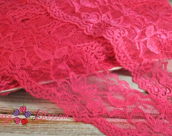 2.25 inch Hot Pink Stretch Lace - lace trim - Wedding Bridal Shower Garter Material