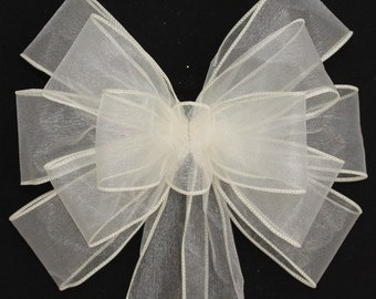 Ivory Sheer Wedding Pew Bows - Available in 21 colors, Church Aisle Decorations, Ivory Chair Bows