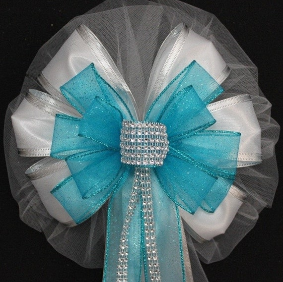 Wedding Pew Decoration Ideas: Turquoise Bling Wedding Pew Bow Wedding Church Bows Church
