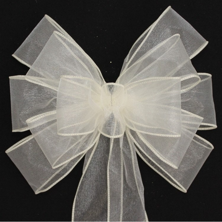 Ivory sheer wedding pew bows available in 21 colors church - Bow decorations for weddings ...
