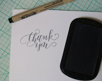 Calligraphy Thank You Rubber stamp