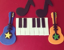 Fondant Guitar/Rockstar Theme cupcake and cake toppers