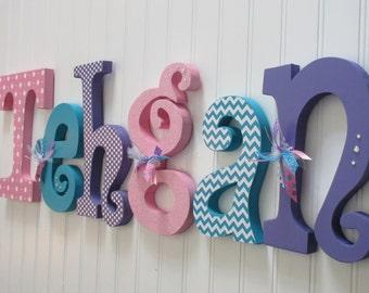 Nursery letters, Nursery wall hanging letters, pink, purple & teal nursery decor, nursery wall letters