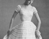 CROCHET PATTERN Vintage 50s Nomotta Fairy Tale Cinderella Silk Organdy Ribbon Hairpin Lace Wedding Dress Instant Download PDF
