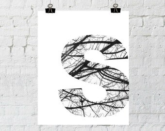 S Monogram, Monogram Wall Art, Tree Branch Art, Wall Art Prints, Home Decor, Instant Download, ADOPTION FUNDRAISER
