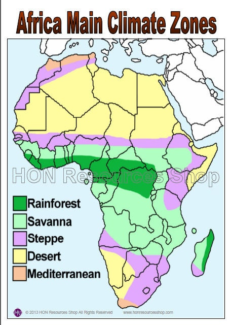 Africa Main Climate Zones Map Printable Poster by ...