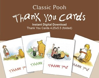 Classic Winnie the Pooh Instant Digital Download Thank you Cards