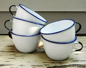 Five White Swedish Enamel Cups with Blue and Black