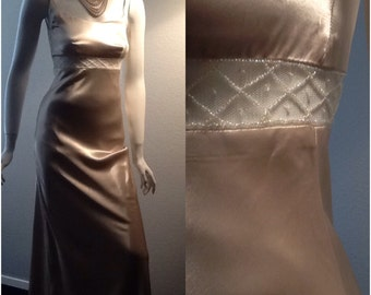 Vintage Wedding Dress / Champagne Taupe Bridal Gown / Champagne / 1920s Style / Hollywood / Bias Cut / Beaded / Sheer Midriff / Classic / 4