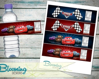 PRINTABLE - Disney Cars Water Bottle Labels - Custom Birthday Lables