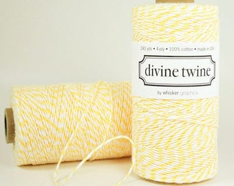 Lemon Yellow & White Divine Twine, 240 yards / 219 m. Spool of twine, Bakers Twine, Pastel Yellow, Divine Twine