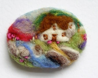Needle felted brooch, pin, wool, 'River Cottage', Fall,  mother gift, landscape artwork IWANTCRAFT