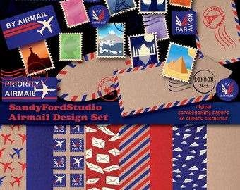 Airmail Design Set - Digital Scrapbooking Papers,Clip Art Elements and Stationery Templates - INSTANT DOWNLOAD