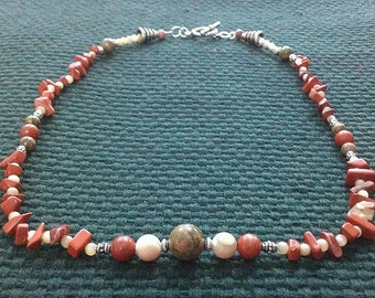 autumn 3: stone bead necklace featuring red jasper, unakite, and mother of pearl