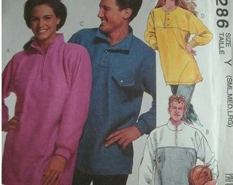 Misses, Men's or Teen Boys Tops - Stretch Knits Only Sizes Small-Large Bust/Chest 31 1/2-40 McCalls Pattern 6286 UNCUT 1992