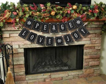 PEACE LOVE JOY large Christmas Banner - Download and Printable - diy - Chalkboard style - Black and White