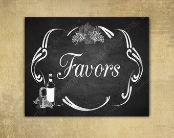 Rustic Vineyard DIY Wedding FAVORS sign - Chalkboard Style - Perfect for vineyard or winery weddings 5x7, 8x10 and 11x14