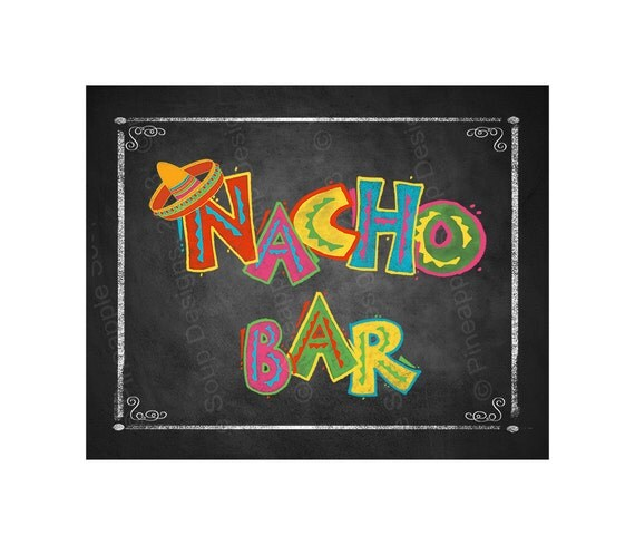 Fiesta Party Nacho Bar Sign In Chalkboard Style Birthday