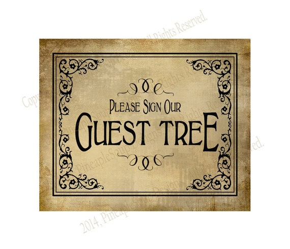 Wedding Guest Signing Tree: PRINTABLE Guest Tree Wedding Sign Please Sign Our Guestbook