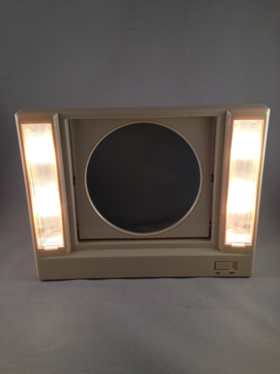 Lighted Vanity Mirror Etsy : Vintage Lighted Vanity Makeup Mirror Double by ThumbBuddyWithLove
