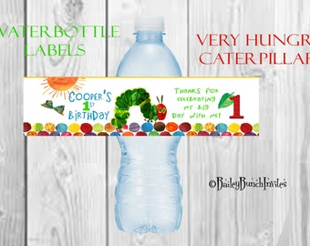 The Very Hungry Caterpillar Water Bottle Labels - Party Favors