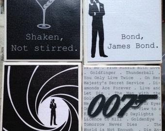 JAMES BOND Set of 4 Coasters Quotes Movie Titles Logo Ceramic Tile, Housewarming, Home Decor