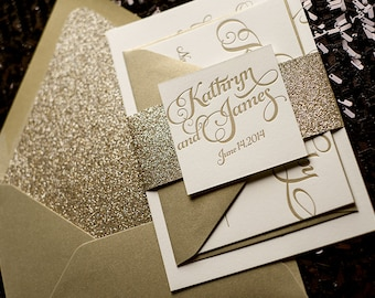 Gold Glitter Letterpress Wedding Invitation, Calligraphy Invitation - Sample Set