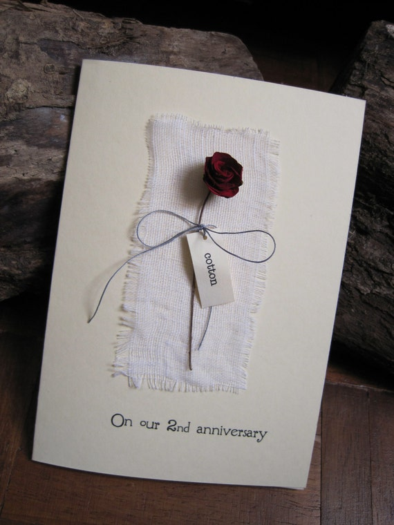 2nd Wedding Anniversary Card With Cotton Fabric By