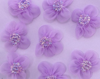 15 Pieces 1 Inch Organza Flower Material|Chiffon Fabric Flower Applique|Craft Supplies|Flower Material|Baby Doll|Carnation|Rose|Bow