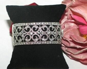 bridal cuff bracelet, crystal bracelet, wedding cuff bracelet, cz vintage bracelet, designer wedding jewelry