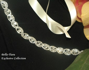 rhinestone headband, wedding headpiece, wedding hairpiece, bridal headband, ribbon headband for bride, crystal bridal headband