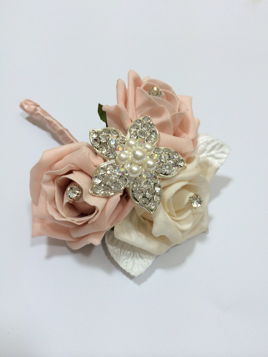 Ladies Brooch CorsageWedding Corsage Peach and Cream Roses