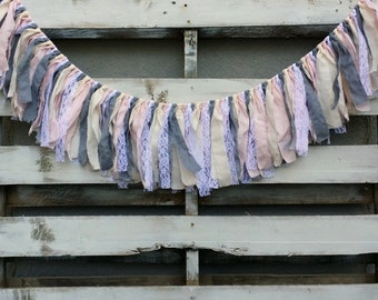 Fabric and Lace Rag Garland, Rustic Wedding Garland, Wedding Garland,  Fabric Banner, Backdrop Garland, Rag Tie Garland
