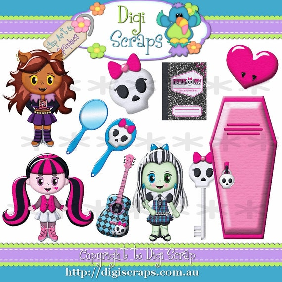 Monster Girls Halloween Clip Art Set - Clipart scrapbooking set