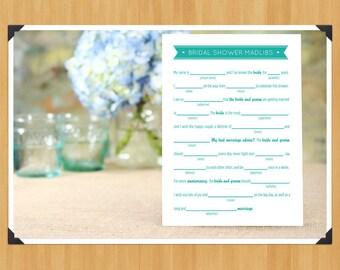 Printable Bridal Shower MadLibs Game, DIY, Instant Download, Printable PDF, Robin egg blue