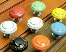 Knobs Dresser Knob Drawer Knobs Pulls Handles Ceramic Cabinet Knobs Kitchen Door Furniture Hardware Green Red Orange Blue Yellow Black White