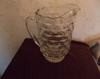 Vintage Clear Glass Cut Pitcher