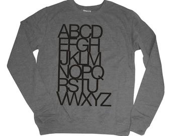 Women's Helvetica Typography Alphabet Sweatshirt