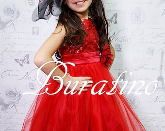 Red Flower Girl Dress. Wedding, Red Sequin Flower Girl Dress,Christmas Red Sequin Dress.Special Occasion Dress. Size 2T- 14(ets0155rd)