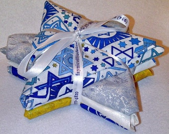 Jewish Fat Quarter Bundles - Blues & Whites, And Metallic Fabric