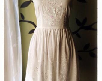 Country Cotton White Embellished Sundress