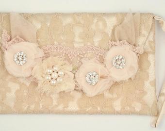 Vintage Embellished Lace Clutch Bag Pink