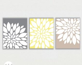 "Modern Abstract Flower Bursts in Grey,Sand, Yellow Digital Printable Wall Decor Art Print  8""x10"" Set - R61"