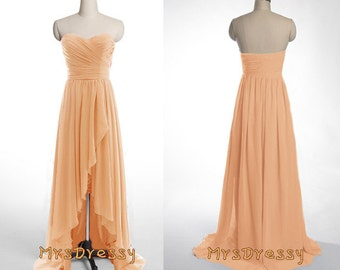 Peach orange high low sweetheart neck pleated bridesmaid for Light orange wedding dresses