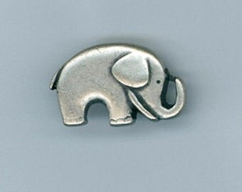 2 20x13mm Silver Tone Elephant Metal Shank Buttons