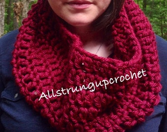 Crochet Cowl Scarf / Burgundy Cowl / Gift for Her / Snood / Hooded Cowl / Infinity Scarf / Neck Warmer / Crochet Cowl / Circle Scarf /