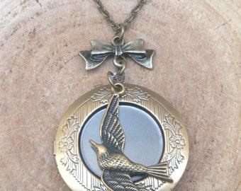 Antique Brass Bird Locket Necklace Victorian Jewelry Gift Vintage Style