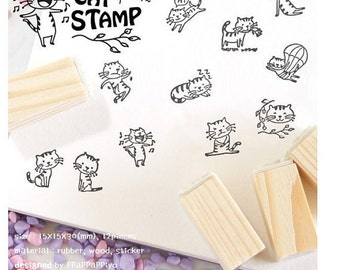 12 Kinds Korea DIY Woodiness rubber stamp-Cat Stamp