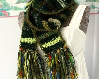 Green Crochet Scarf, Scrappy Scarf, Long Scarf, St. Patrick's Day, Eco-Friendly, Crazy, Random, Forest Chartreuse, Happy, Boho Gypsy