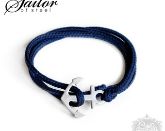 SAILOR of steel - true blue wrap bracelet anchor stainless steel